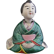 Rare Antique Banko or Folk Art Pottery or Bisque Nodder of a Japanese Proper Lady