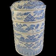 Japanese Edo Period ko-Imari Inban 腱 Transferware Porcelain Jubako Box Cranes