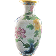 Chinese Vintage Wired Cloisonne Shāo 烧 Vase with Peoni Flowers and Bird Motif