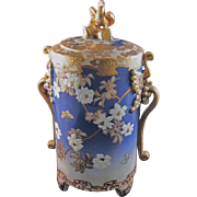 Japanese Vintage Kyo-Satsuma Pottery  Vessel in Gyosu Blue White Peonies Butterflies and Gold