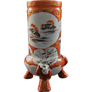 Japanese Antique Kutani Porcelain Hairpin or Toothpick Holder with Karako Tripod Feet