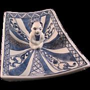 Japanese Vintage Blue and White Porcelain Plate with Karako Center and Sign Gorodayu Go Shonzui