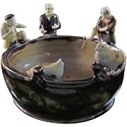 Japanese Vintage Sumida Ware 墨田区 Pottery Bowl with Three Men and One Headless Duck