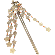 Japanese Antique Tachibana Kanzashi 簪 Flower Relief in Gold and Silver, Cherry Blossom Birabira with Ornamental Coral Beads