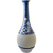 Japanese Vintage Hasami Porcelain Reticulated Open Work Vase Blue and White with Ume or Plum Blossom Design, Kinpo Kiln Signed
