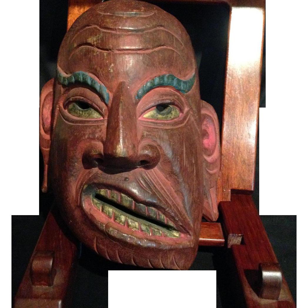 Japanese Antique Wood Noh Mask of Genji Warrior