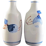 Japanese Vintage Seto-yaki Pair of Porcelain Rosoku Tokkuri or High Shoulder Style Sake Bottle