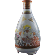 Japanese Vintage Kutani-yaki 九谷焼 Porcelain Sake or Tokkuri Bottle in Mentori Style