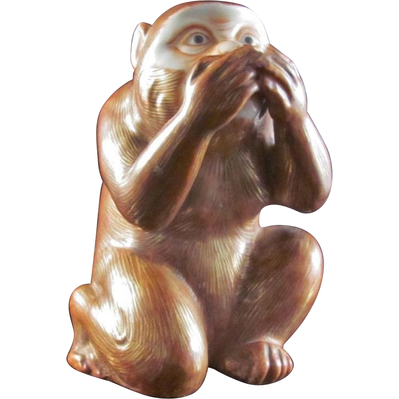 Japanese Antique Kutani Porcelain Ornament or Statue of a Monkey
