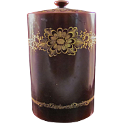 Unusual Japanese Vintage Gold Embossed LacquerWare Cannister Made in Occupied Japan