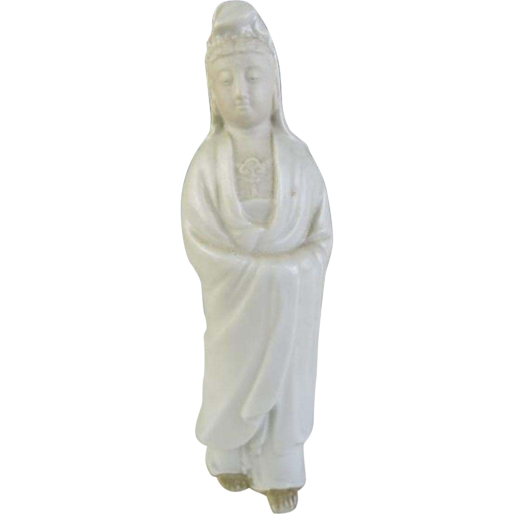 Japanese Izushi-ware 出石焼 Porcelain Okimono or Statue of Kannon by First Class Potter Yamamoto Shuko, 山本秀壷
