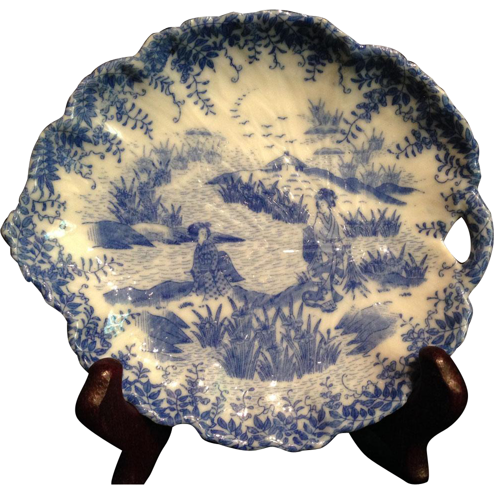 Japanese Antique Inban 印判 Transferware Porcelain Leaf Shaped Great Picture