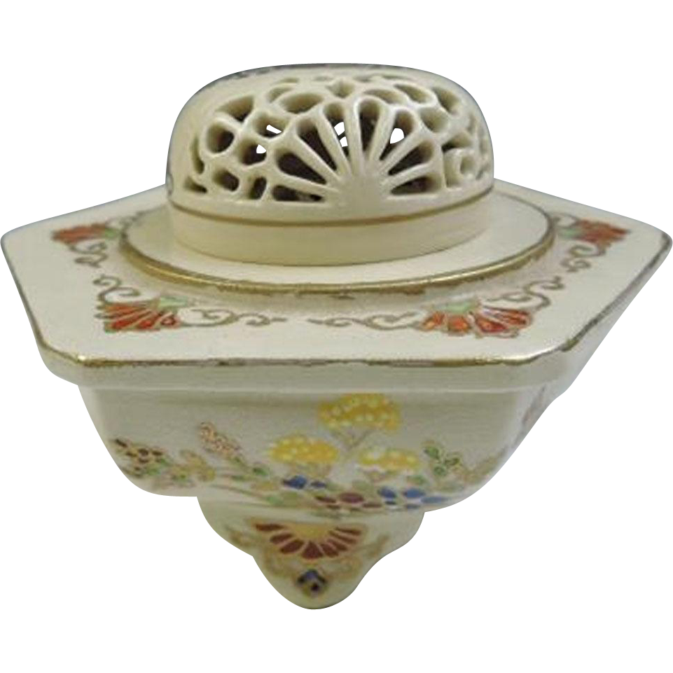 Japanese Vintage Fine Satsuma-yaki 薩摩焼き Pottery Koro or Incense Burner with 菊 Kiku or Chrysanthemum in Sukashi Lid