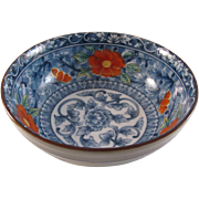 Japanese Arita Juzan- gama Namasu Porcelain Bowl Red White and Blue Peony