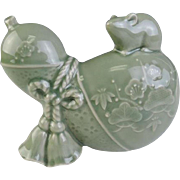 Japanese Kyoto Ware Kyo-yaki 京焼き Celadon Ornament or Okimono of a Mouse on Gourd