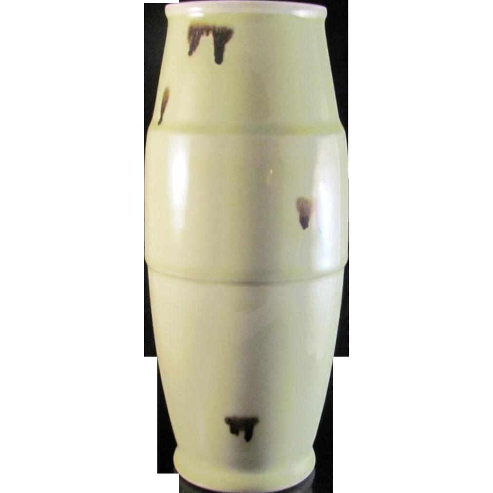 Japanese Vintage Kyo-yaki Celadon Porcelain 花器 Kaki or Flower vase Inspired by Spotted Qingbai
