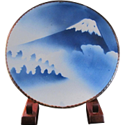 Japanese Antique Igezara Inban 印判 Porcelain Mt. Fuji Blue and White Ozara Size Platter