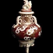 Japanese Satsuma Ware Pottery 薩摩焼 Gorgeous Glazed Urn Vase with Foo Dog Lid