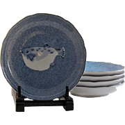 Japanese Arita Porcelain Set of Five Blue and White Side or Sushi Plates Blow Fish