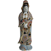 Japanese Vintage Kutani Porcelain Okimono or Statue of Kannon, Guanyin, or Goddess of Mercy