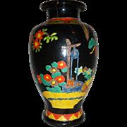 Large Japanese Art Deco Kinkozan Polychrome  Vase Makers Mark