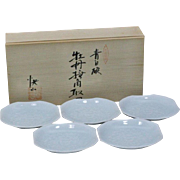 Japanese Contemporary Set of Five Blue Celadon Porcelain Plates by Living National Treasure Kaiji Tsukamoto