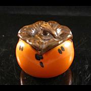 Japanese Contemporary Kutani 九谷焼 Porcelain Kogo of a Persimmon or 柿 Kaki