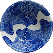 Japanese Mino-yaki Porcelain Blue and White Nakazara or Serving Bowl from Ryuho Kiln 龍峰