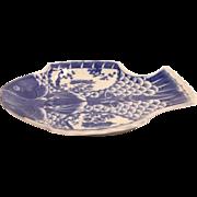 Japanese Vintage Blue and White Large Fish Plates (2)