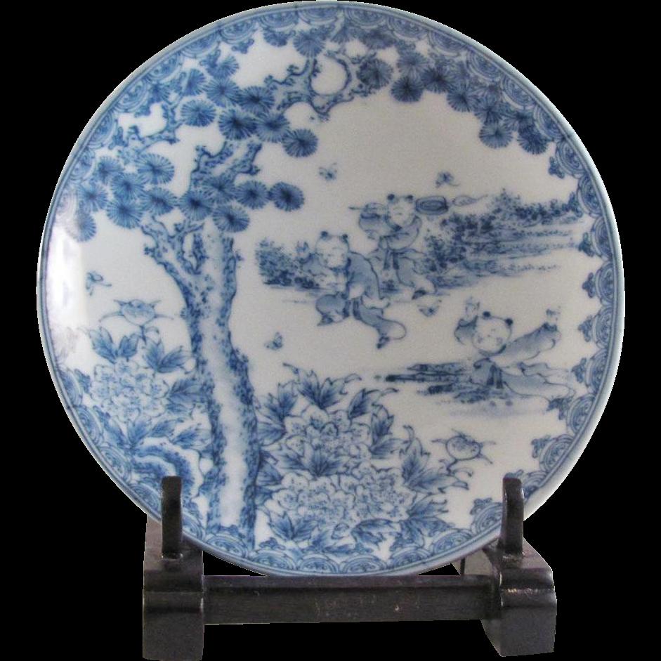 Japanese Antique Porcelain Plate With Three Karako Motif