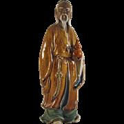 Large Chinese Mid-Century Mud Man Sage with Gourd signed Tsui Shek Studios