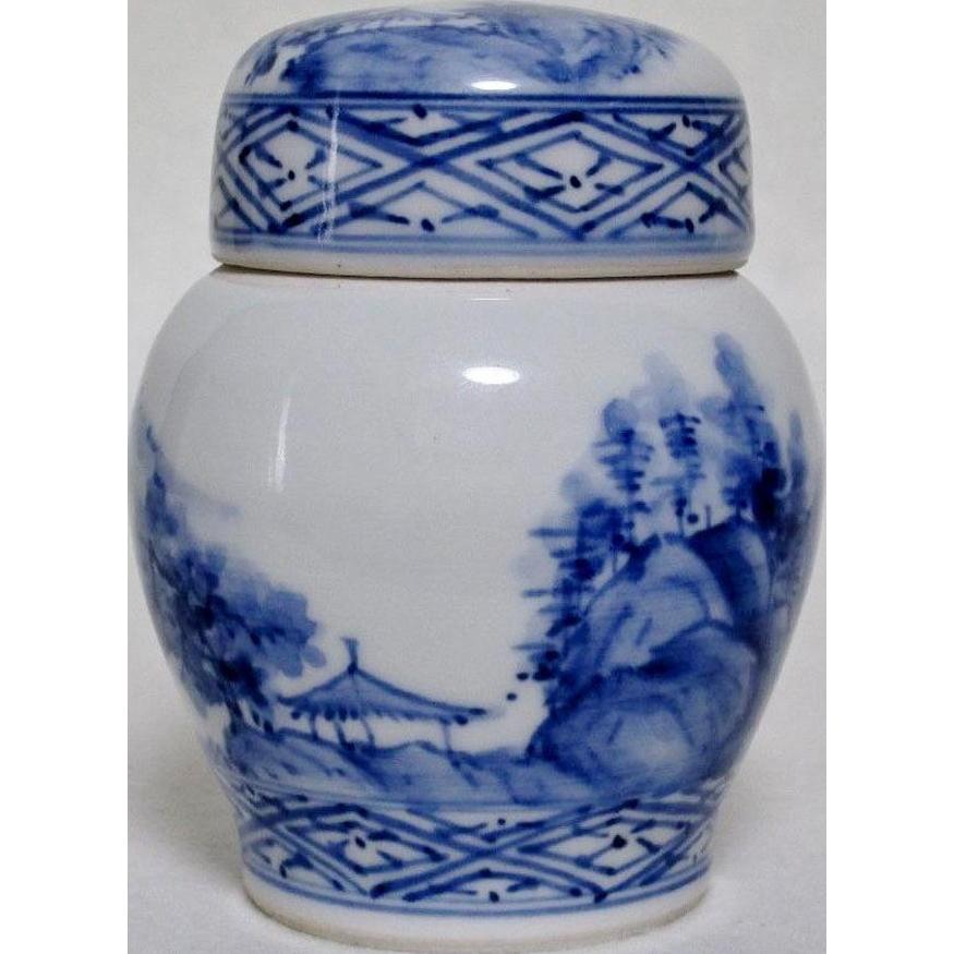 Japanese Rare Vintage Blue on White Tea Caddy by Master Potter Kato Keizan II