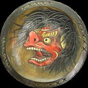 Japanese Vintage Huge Wood Bowl with Ueda Folk Art Shishi Lion 上田獅子 and Dedication Inscription