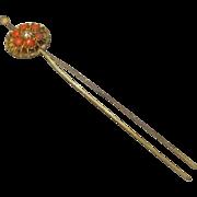 Japanese Antique Geisha's Gold Metal Hirauchi Kanzashi 簪 Hairpin Ornament of Chrysanthemum