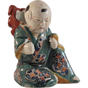 Rare Japanese Antique Kutani 九谷焼 Porcelain Okimono Ornament or Statue of a Karako with Shisha 死者 Lion Mask