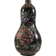 Japanese Antique Rare Tanzan Studios Miniature Black Gourd Vase by Greatest Meiji Era Artist Tanzan Seikai 談山西海