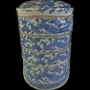 Japanese Edo Period ko-Imari Porcelain Jubako Box Inban 腱 Transferware of Phoenix