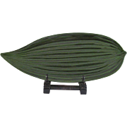 Japanese Shikki 漆器 or Lacquer Ware Decorative Tray of Green Bamboo Leaf