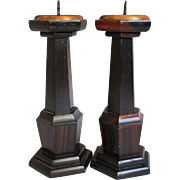 Japanese Pair Vintage Shokudai or Candle Holders of Karaki Ebony Wood and Copper
