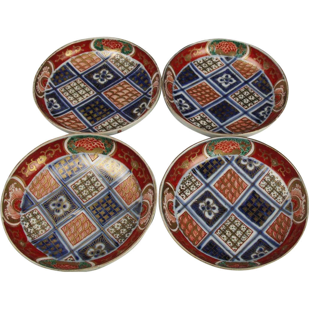 Japanese Antique Imari Porcelain Set of Kinrande Gold Gilt Kozara Side Plates