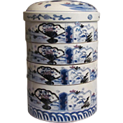 A Fine and Tall Japanese Antique 19th Century Imari 伊万里焼 Porcelain Jubako or Multi-Tiered Food Box 重箱