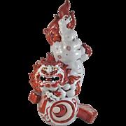 Japanese Antique Kutani Porcelain Red and White Okimono Statue of a Foo Dog or Shishi Lion