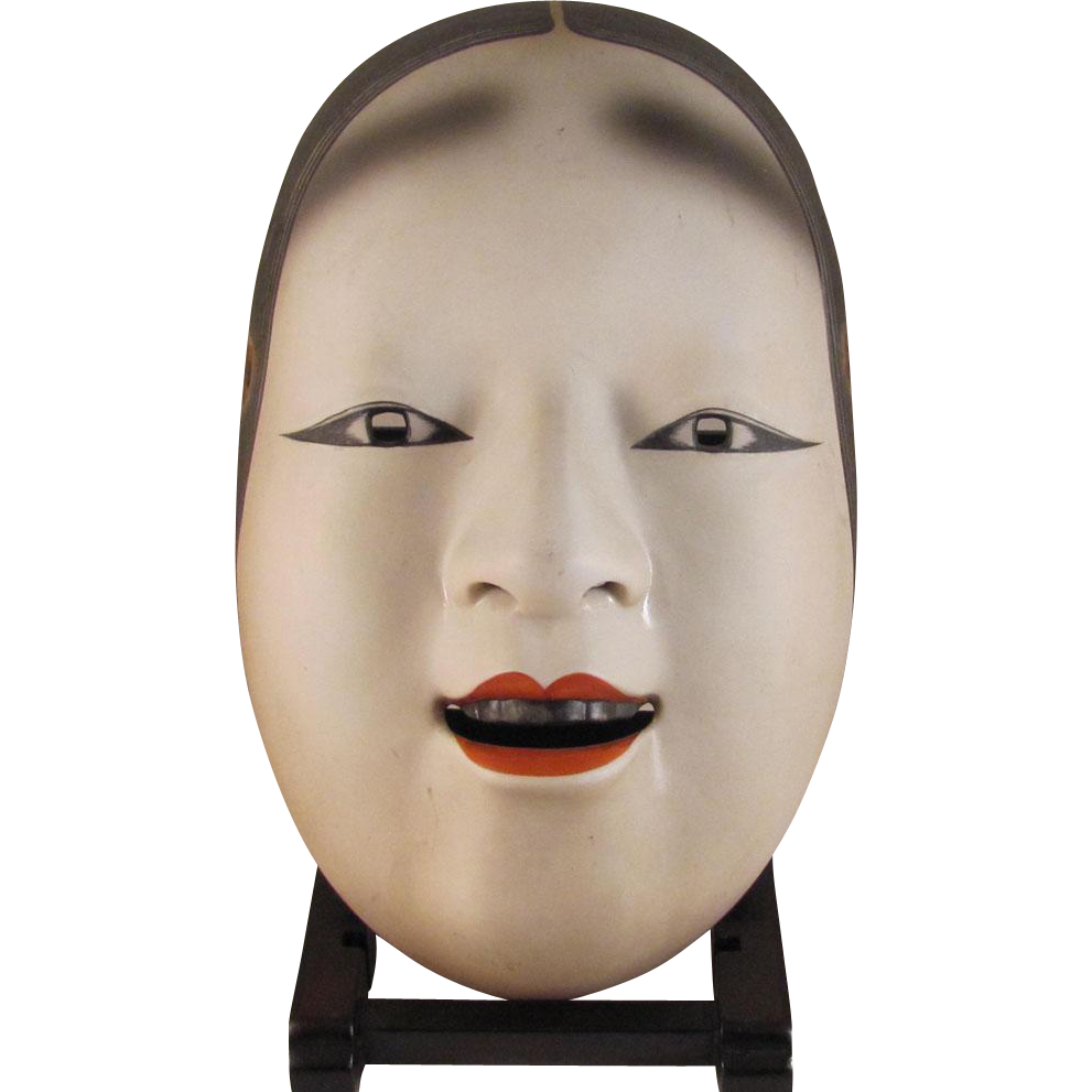 Japanese Vintage Kyoto Kongou School ko-Omote Decorative Pottery Noh Mask  by Kan'shyu Kongou Iwao 監修 金剛 巌
