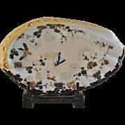 Japanese Antique pre-Noritake Seto-yaki Chocolate Ikezono Porcelain of an Abalone Shell Plate by Shunko Kato II 加藤春光