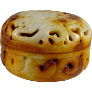 Chinese Vintage Cream-Yellow Jade Cricket Box