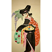 Japanese Silk Scroll of Dancing Bijin and Fuji signed Niwayama Koen 丹羽山公園