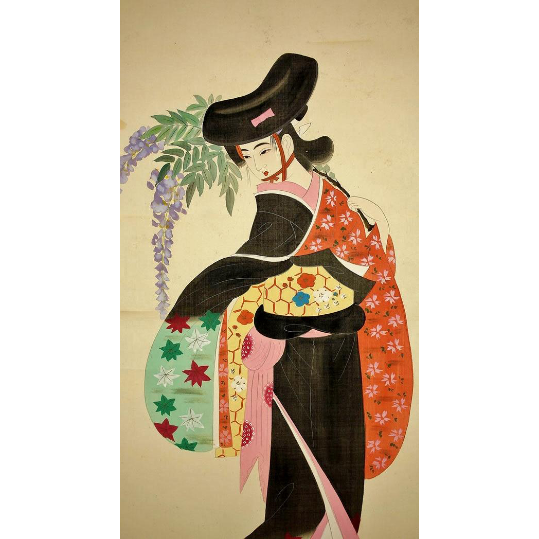 Japanese Silk Scroll of Dancing Bijin and Fuji signed Niwayama Koen ...