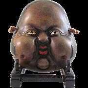Japanese Vintage Decorative Pottery Mask of Okame or Otafuku, Signed Yuraku 勇楽