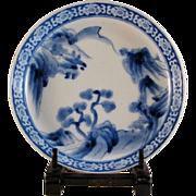 Japanese Antique Nakazara Sometsuke Porcelain Plate  Important Hizen Aoki Kiln