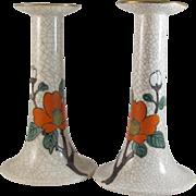 Japanese Vintage Pair of Kyoto Ware 'Ninsei-Style' Ceramic Candlesticks